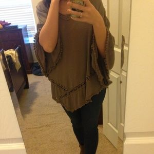 Outerwear - Light brown soft poncho
