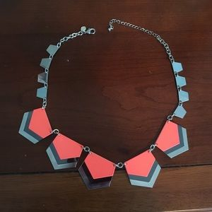 Coral and silver statement necklace
