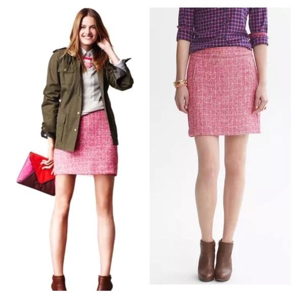 6cce28516a Banana Republic Skirts | Pink Tweed Mini Skirt Sz 4 | Poshmark