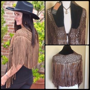 TEZARI ✌🏼️ Suede 💯 Leather Capelet NWT
