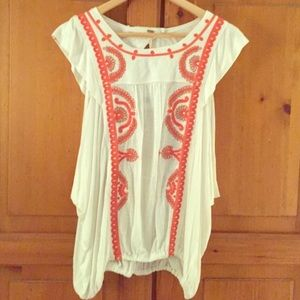 White and Coral Free People Large Blouse