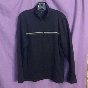 Men's dark half-zip cotton pullover sweater