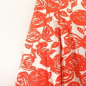 J. Crew coral floral high-waisted skirt w/ pockets