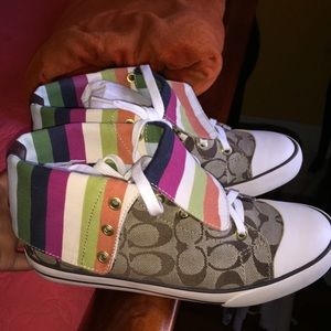 Coach High Top Striped Sneakers