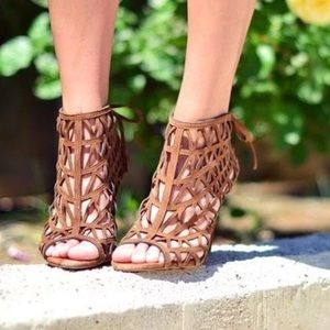 ZARA - Tan Brown Caged Heels