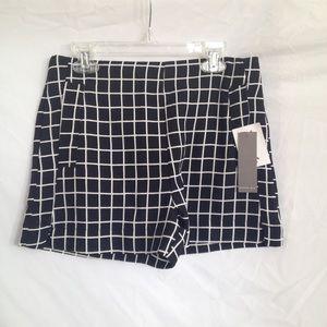 NWT Black & White Grid High Waisted Shorts