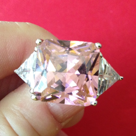 Pink CZ 925 statement ring