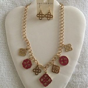 Reversible necklace and earring set