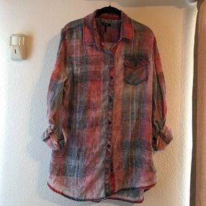 Pac Sun Faded/Distressed Button Down