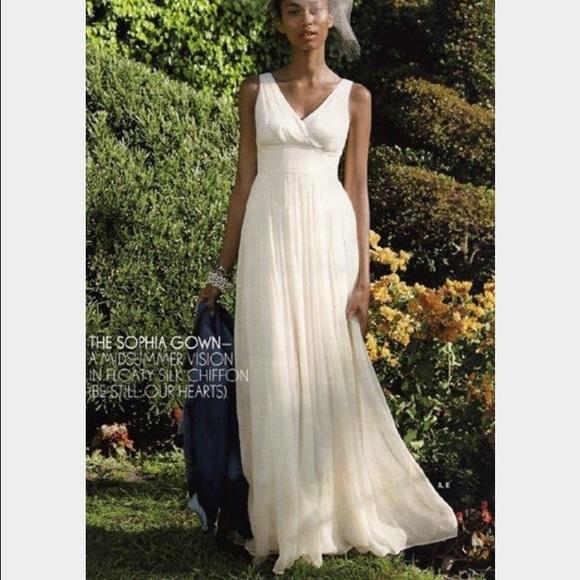 J. Crew Dresses   J Crew Sophia Silk Chiffon Wedding Gown   Poshmark