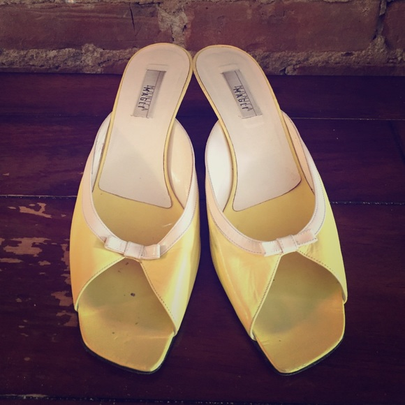 ♦️SOLD♦️Monica Magli Summer Yellow Kitten Heels