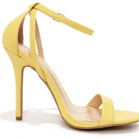 70% off Lulu's Shoes - Lulu's pastel yellow ankle strap heel ...