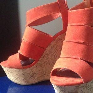 Shoes - BUNDLE** Fluorescent Orange Wedges ~ Like New