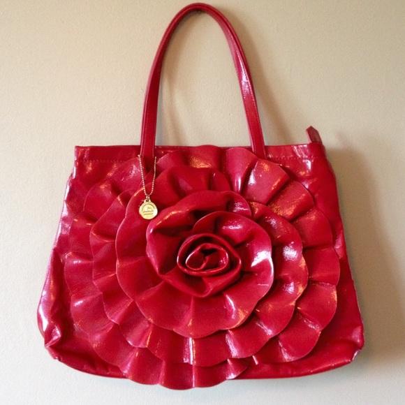 Big Buddha Handbags - Big Buddha Shiny Red Rose Flower Tote Bag Purse