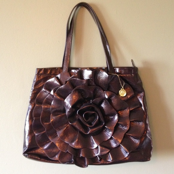 Big Buddha Handbags - SALE! Big Buddha Brown Rose Flower Purse Tote Bag