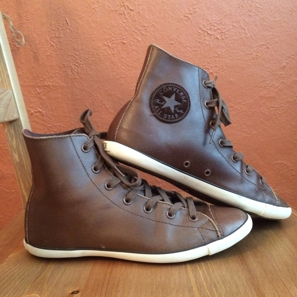 Buy brown leather converse high tops