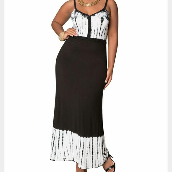 0e78da53dde Black   white tie dyed maxi dress NWT 14 16
