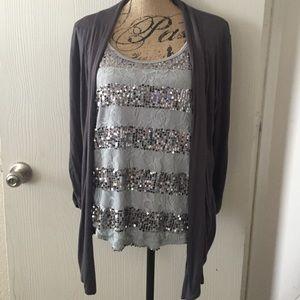 Lace & sparkle faux cami cardigan