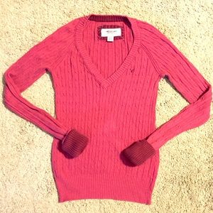 American Eagle Outfitters Sweaters - 🆕American Eagle Cable Knit V-Neck Pink Sweater
