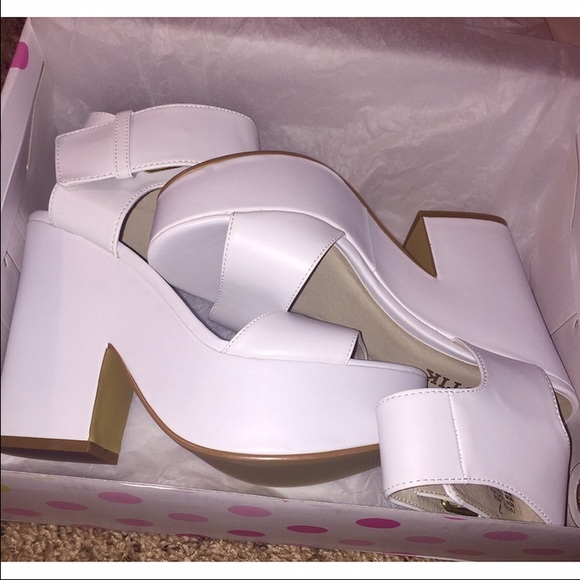 Lipstik Shoes   Jase White Platform