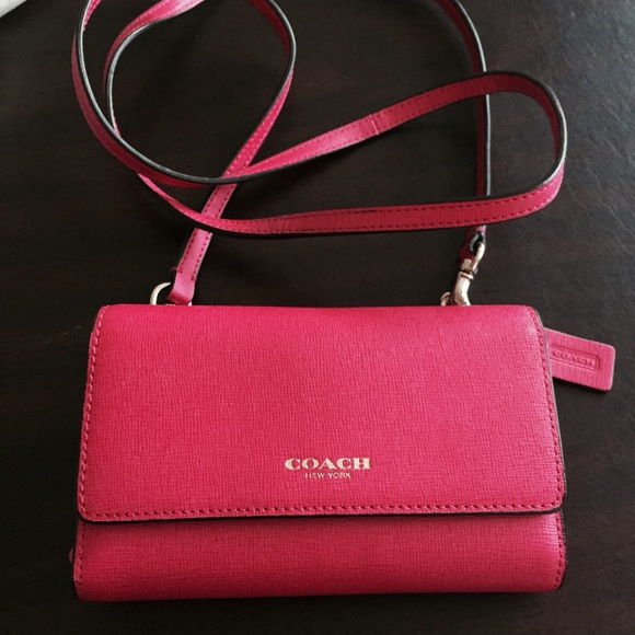 buy online 3555f 66a4a Coach New York- Pink- Cross Body wallet phone case NWT