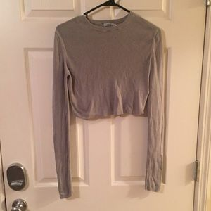 Urban outfitters grey long sleeve crop top