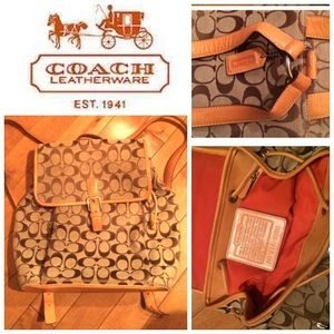 Coach Handbags - RARE vintage leather&canvas coach  backpack