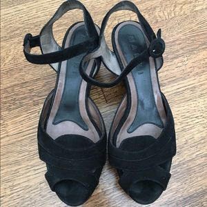 Marni black suede wedges