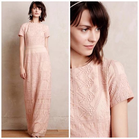 Anthropologie Dresses   Amelia Peach Lace Gown   Poshmark