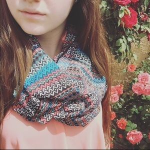 Accessories - Peach and blue Aztec pattern Infinity scarf