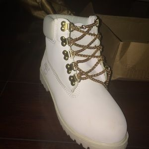 White and Gold chain Timberlands