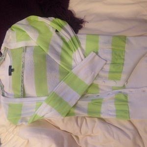 Tops - Striped neon green  and white cardigan