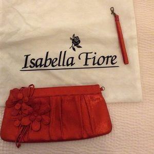 Isabella Fiore Handbags - Isabella Fiore red metallic clutch.