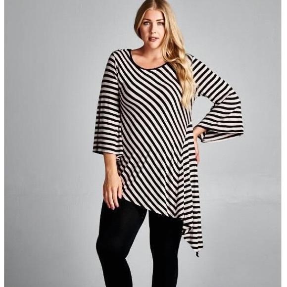 0b0a7bdc347 Tops | Asymmetrical Striped Tunic Plus Size | Poshmark