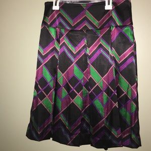 Multi color print Satin skirt with side zipper