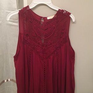 Entro Dresses - Burgundy boho crochet lace dress