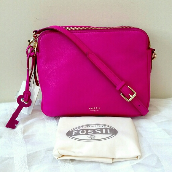 53% off Fossil Handbags - Fossil Sydney Hot Pink Leather Crossbody ...