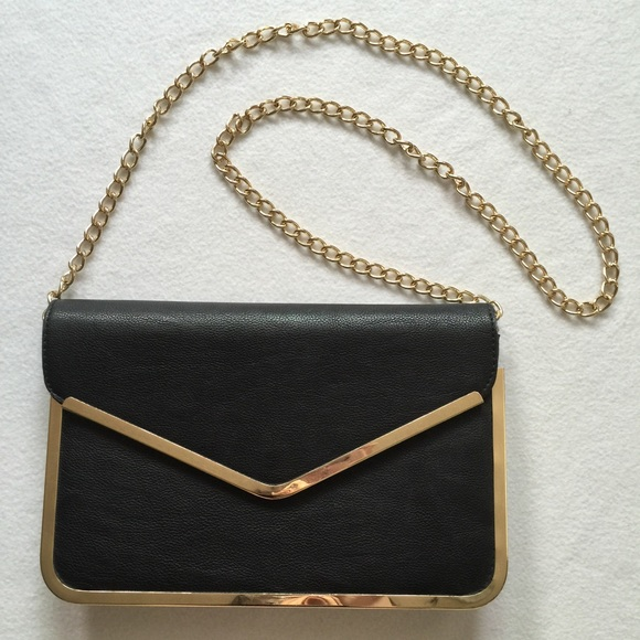 big discount retail prices official store Black & Gold Leather Envelope Bag Clutch Purse