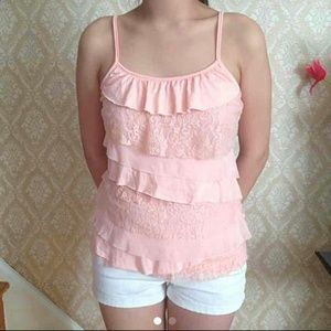 Almost Famous Tops - Sorbet Colored Tiered Lace Blouse / Tank