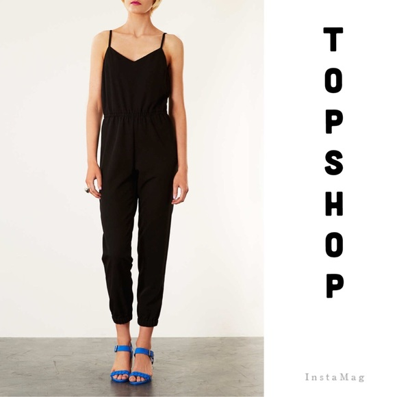 b9bc674f655 🎉HP🎉TOPSHOP Tall satin strappy jumpsuit in black