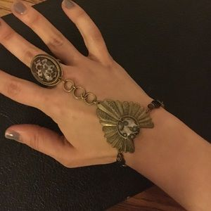 Jewelry - Vintage Brass Attached Ring & Bracelet