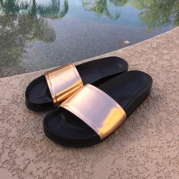 Vince Shoes Olivia Rosegold Metallic Pool Slide Poshmark