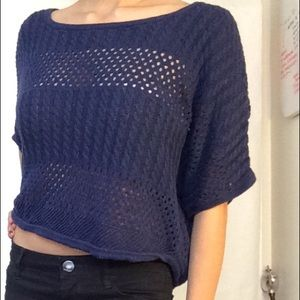 Navy Knitted Top