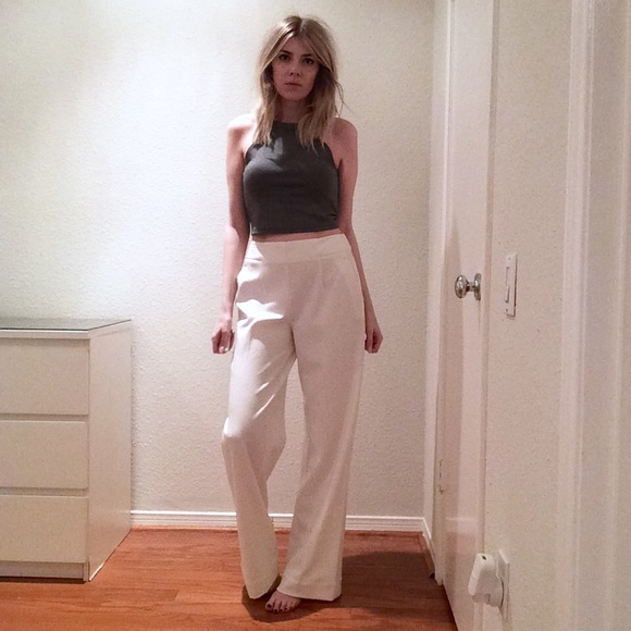 White Wide Leg Dress Pants Si Pant
