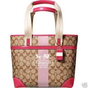 Coach Heritage Signature Stripe Pink/Tan Tote Bag