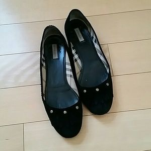 Black Burberry Suede flats