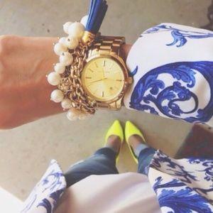 Pearl Blossom Chunky Crystal Statement Bracelet