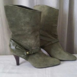 Shoes - Camo Green Suede & Leather High Heel Boots- new