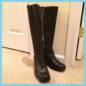 Black leather wedge/platform knee high boots