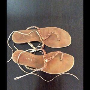 Celine Braided T Strap Sandal 38.5